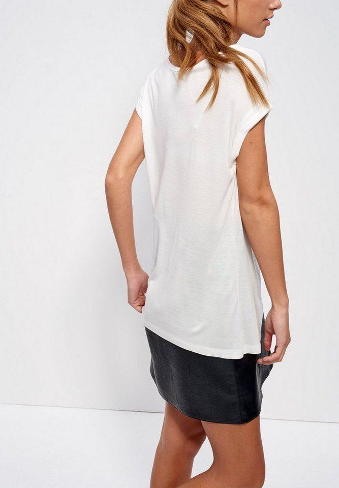 Mexx T-Shirt mit Perlenstickerei in wollweiß