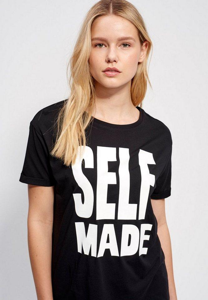 Mexx T-Shirt mit Ärmelaufschlag in schwarz