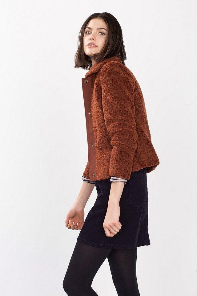 ESPRIT CASUAL Taillierte Kurzjacke aus Teddyfell in RUST BROWN