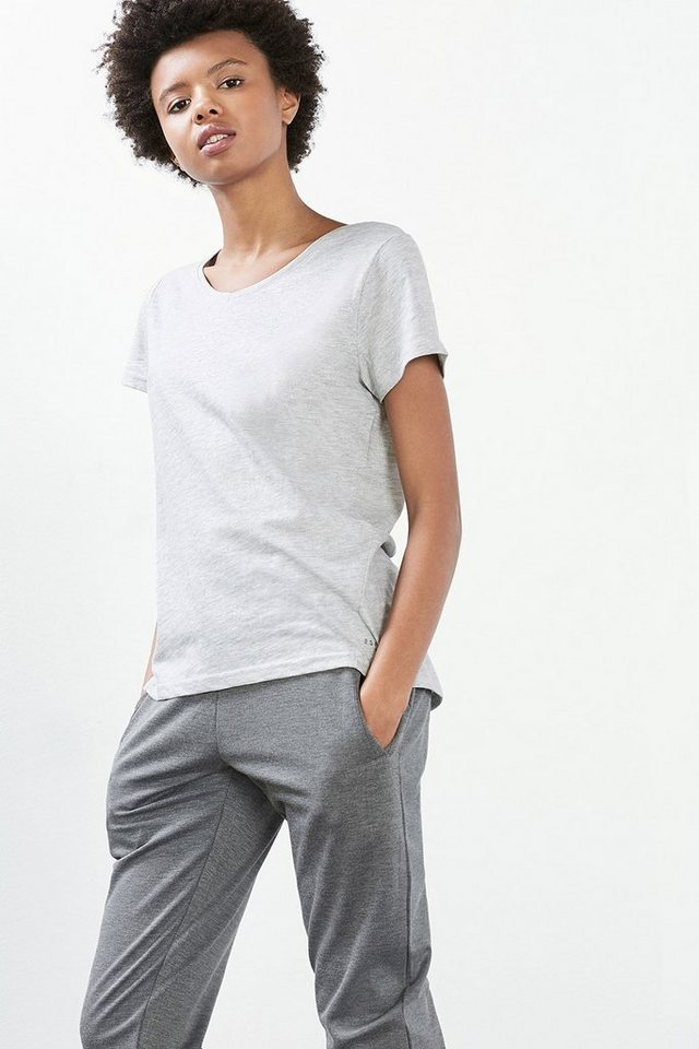 ESPRIT Baumwoll-Mix Sport T-Shirt mit Glitter-Print in LIGHT GREY