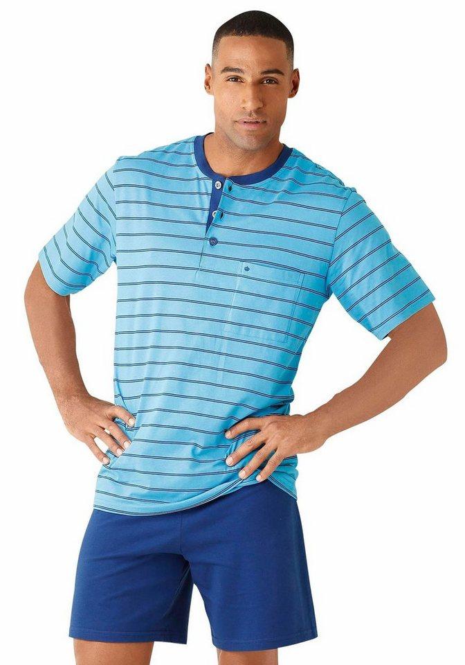 Seidensticker Pyjama in blau gestreift