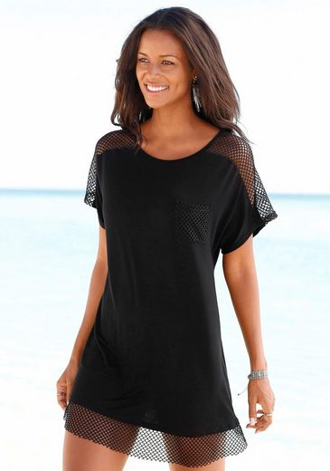 s.Oliver Beachwear Longshirt mit Mesheinsätzen