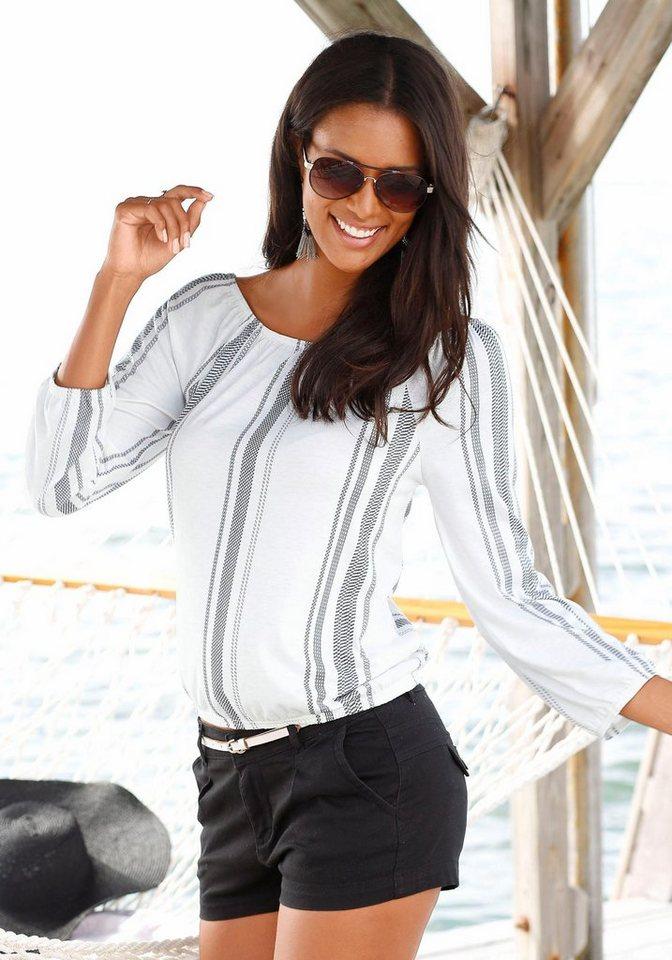 s.Oliver RED LABEL Beachwear Strandshirt in creme-schwarz