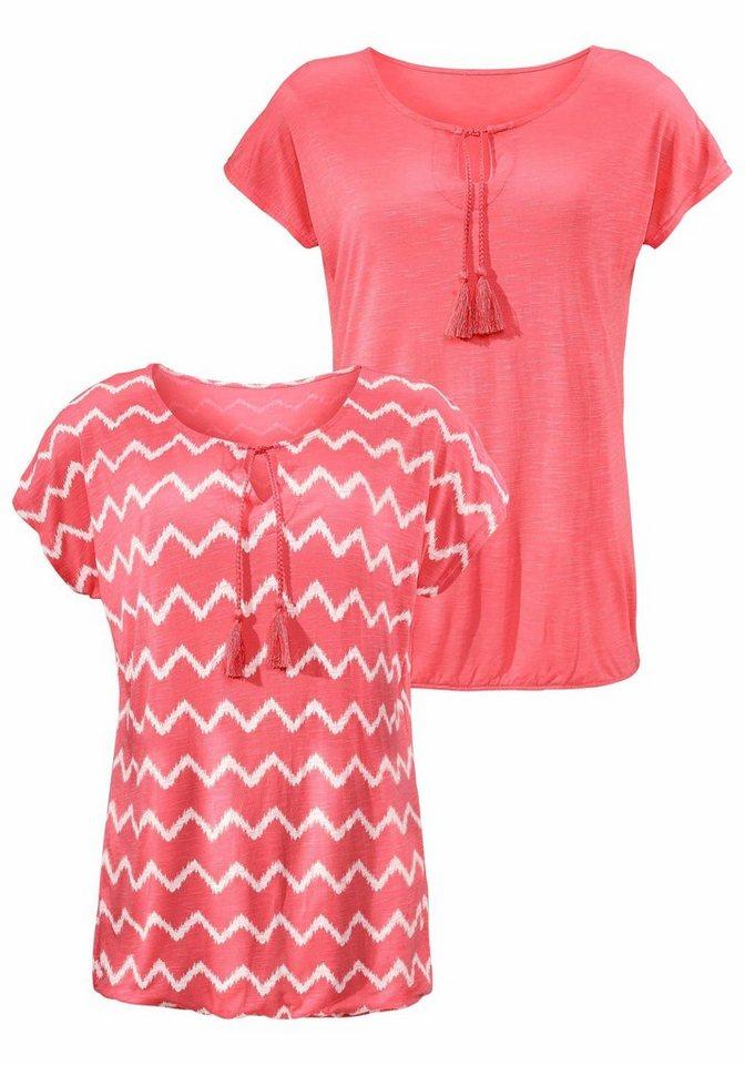 Beachtime T-Shirts (2 Stück) in apricot gemustert + uni apricot