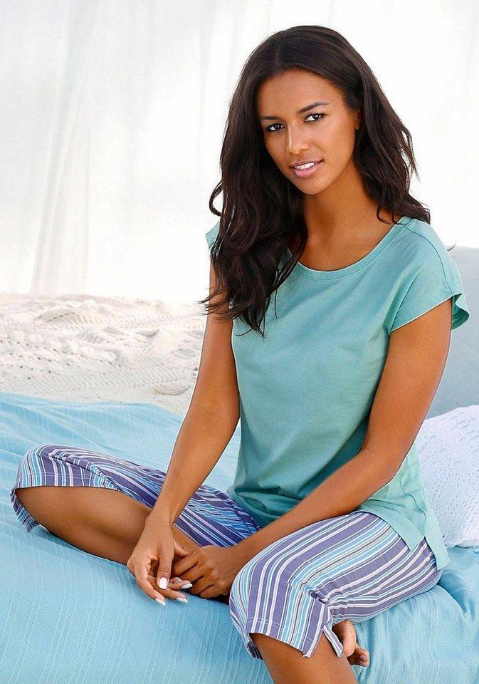 Capri-Pyjama, Petite Fleur in mint/gestreift