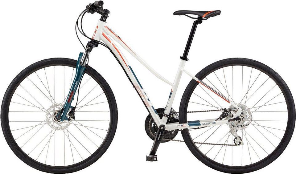 GT Damen Crossrad, 28 Zoll, 24 Gang Shimano Kettenschaltung, »Transeo Women's 3.0« in weiß