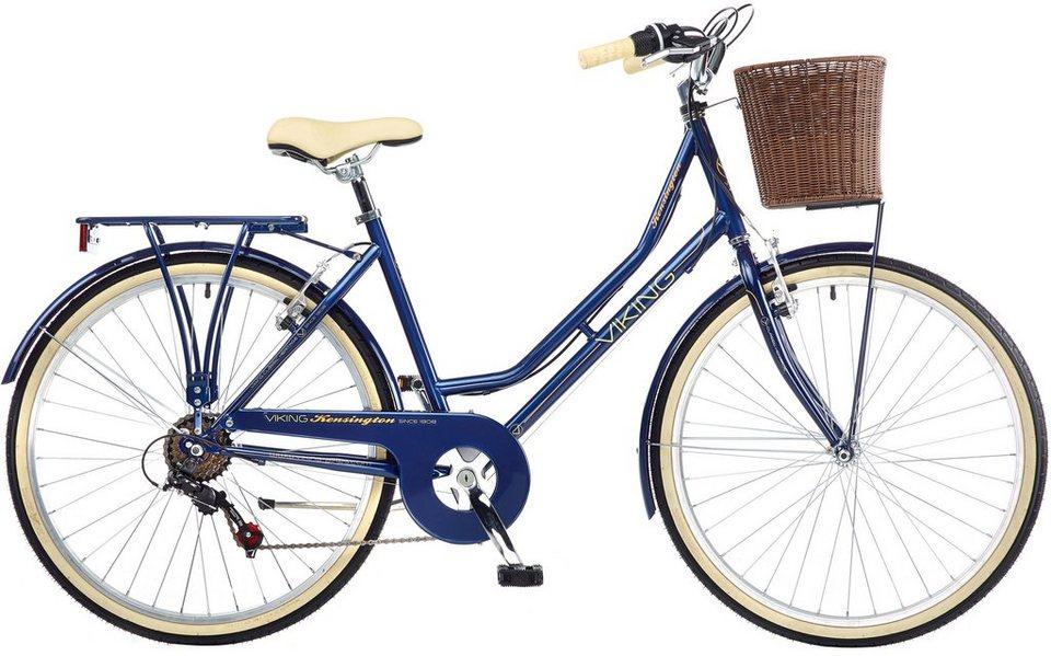 Viking Damen Cityrad, 26 Zoll, 6 Gang Shimano Kettenschaltung, »Kensington« in blau