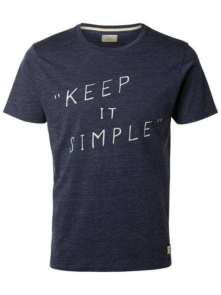 Selected Rundausschnitt- T-Shirt in Medieval Blue