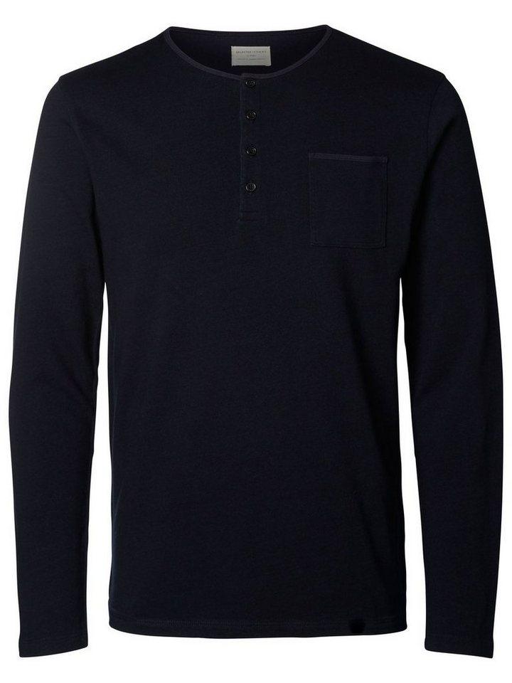 Selected Split Neck- Langarmbluse in Black