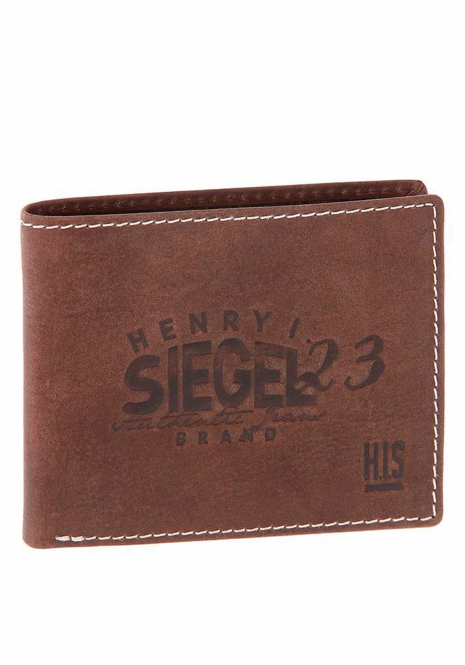 H.I.S Geldbörse mit Logoschriftzug in braun