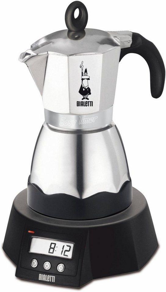 Bialetti Espressokocher, Easy Timer, 3 Tassen in silber