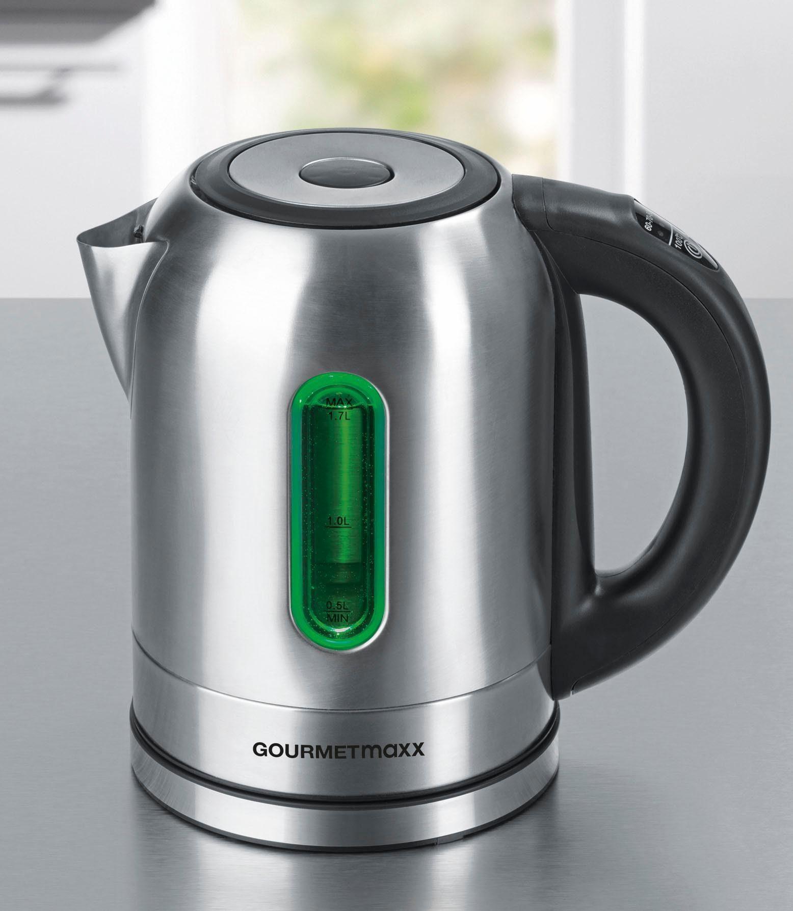 Gourmet Maxx Wasserkocher, LED-Temperaturwahl, 1,7 Liter, 2200 Watt, Edelstahl