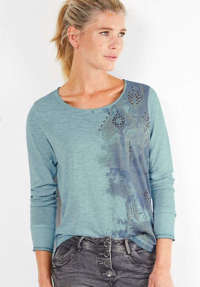 CECIL Langarmshirt mit Seitenprint in glazed neptune blue