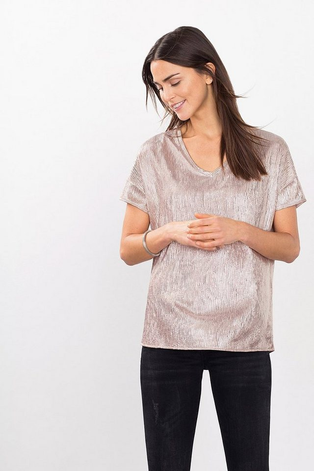 ESPRIT CASUAL V-Neck-Shirt mit Folien-Print in NUDE