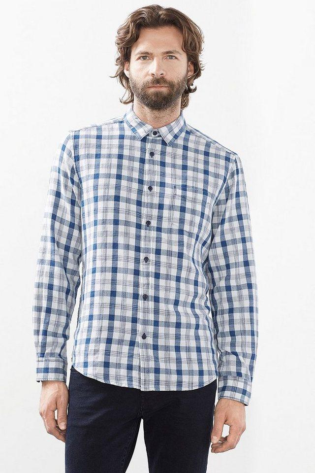 ESPRIT CASUAL Karo Hemd aus Twill, 100% Baumwolle in NAVY