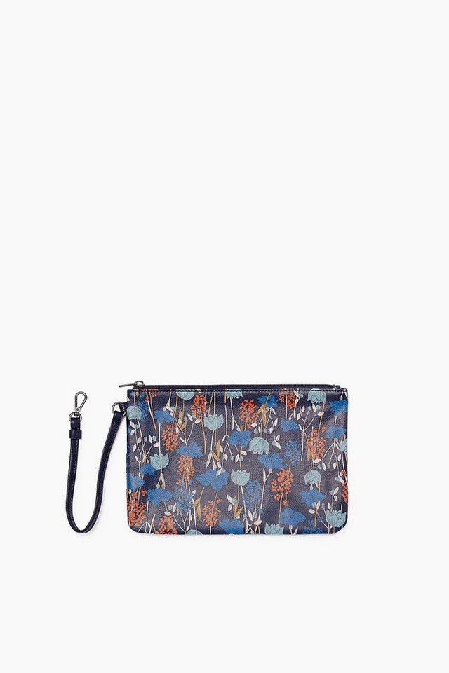 ESPRIT CASUAL Zip Clutch im Leder-Look mit Blüten-Print in NAVY