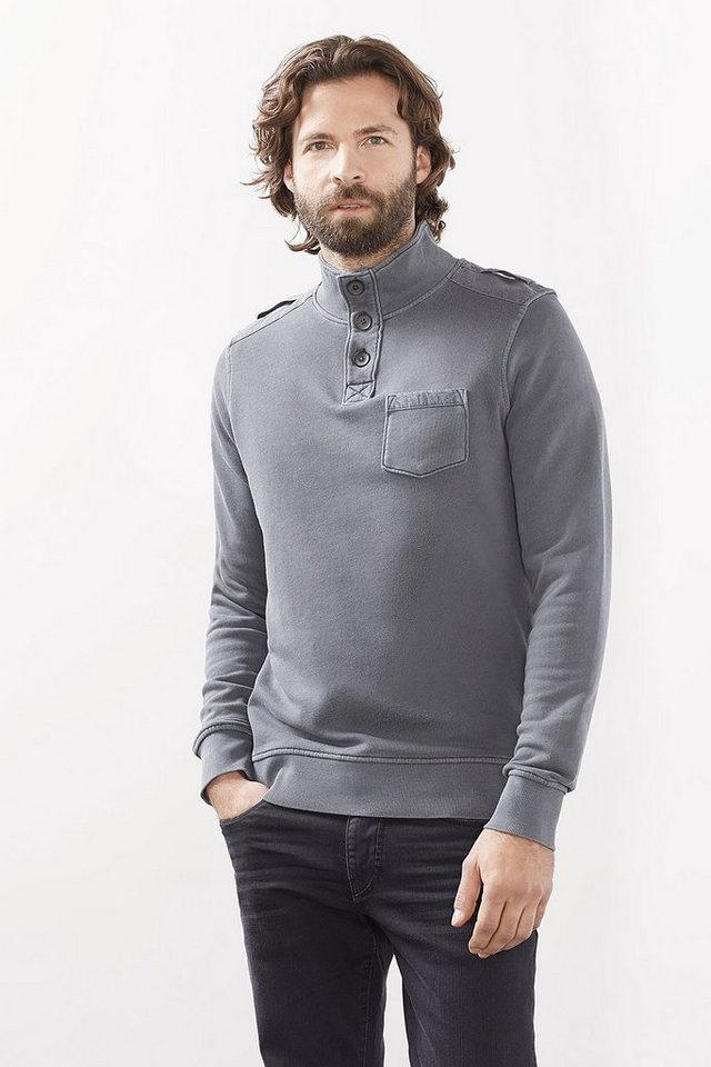ESPRIT CASUAL Vintage Baumwoll Troyer aus Sweat + Stoff in DARK GREY