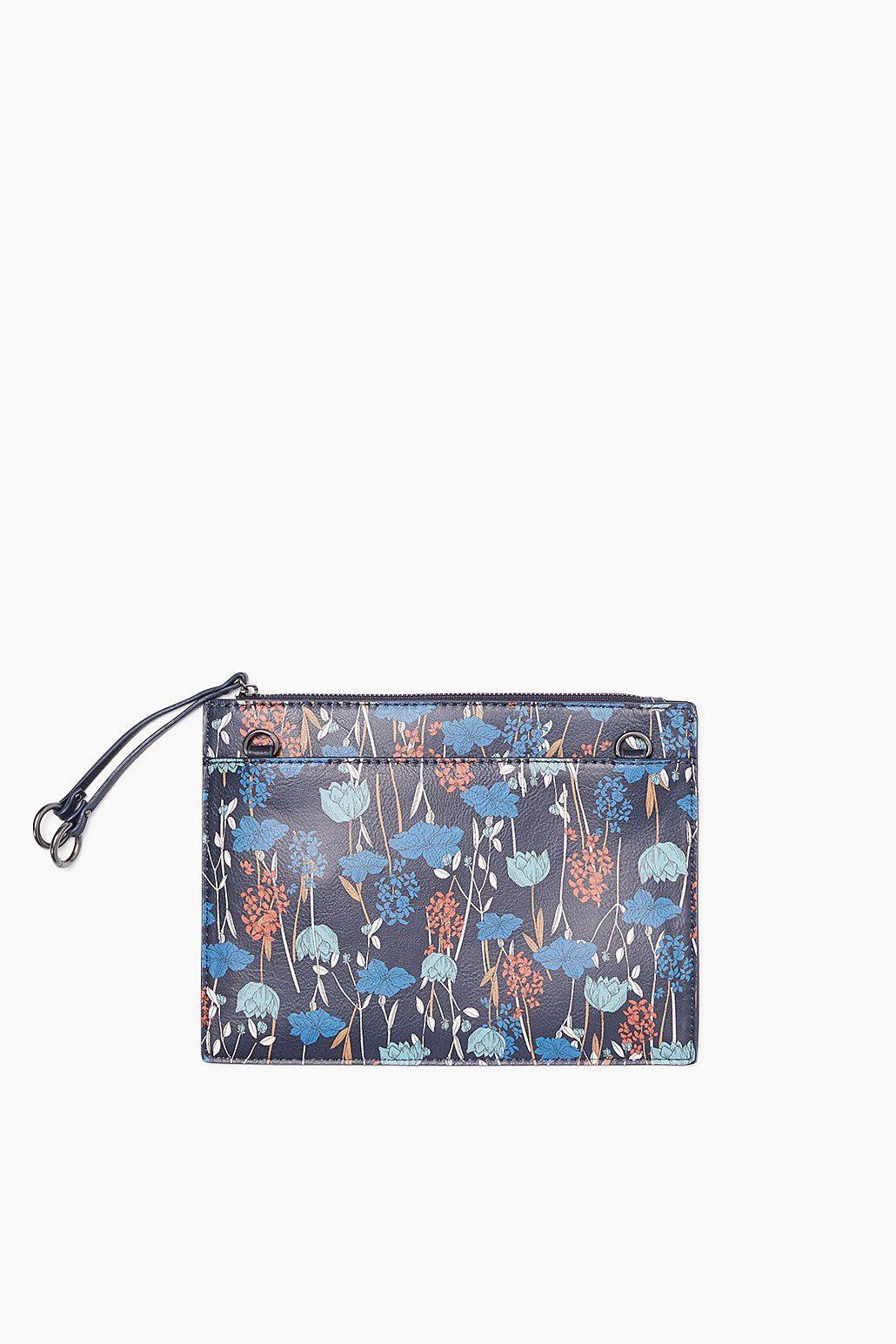 ESPRIT CASUAL Zip Clutch im Leder-Look mit Blüten-Print