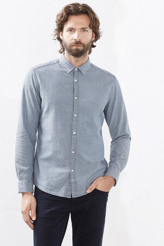 ESPRIT CASUAL Vintage Hemd mit Struktur, Baumwolle in LIGHT BLUE
