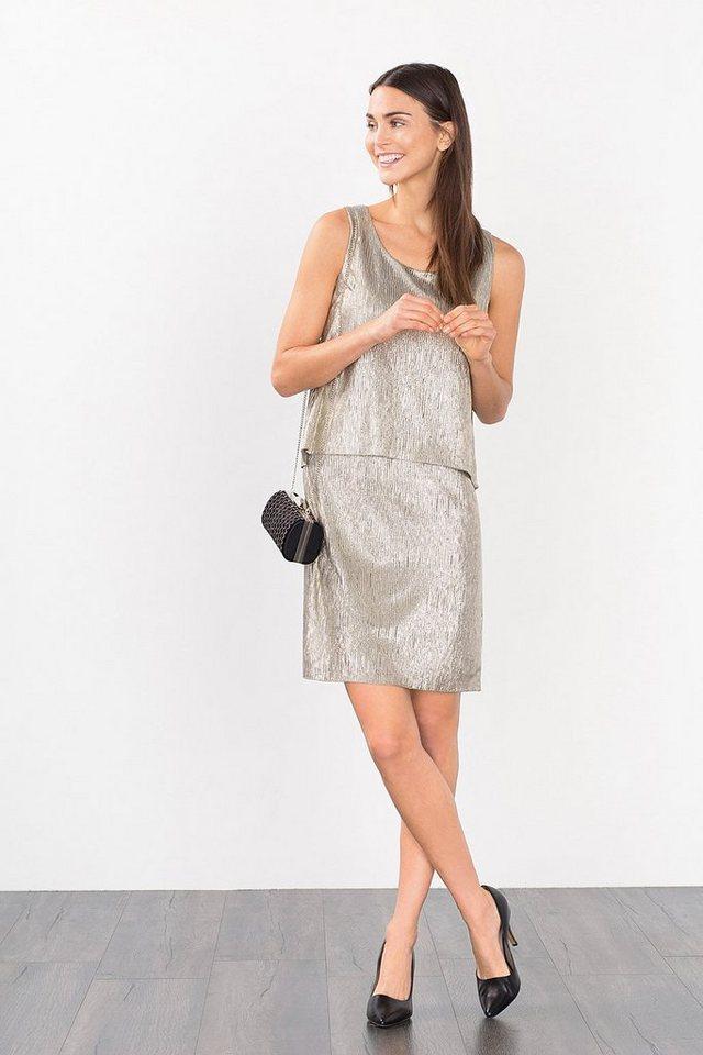 ESPRIT CASUAL Strukturiertes Jersey-Kleid mit Glanz in GOLD