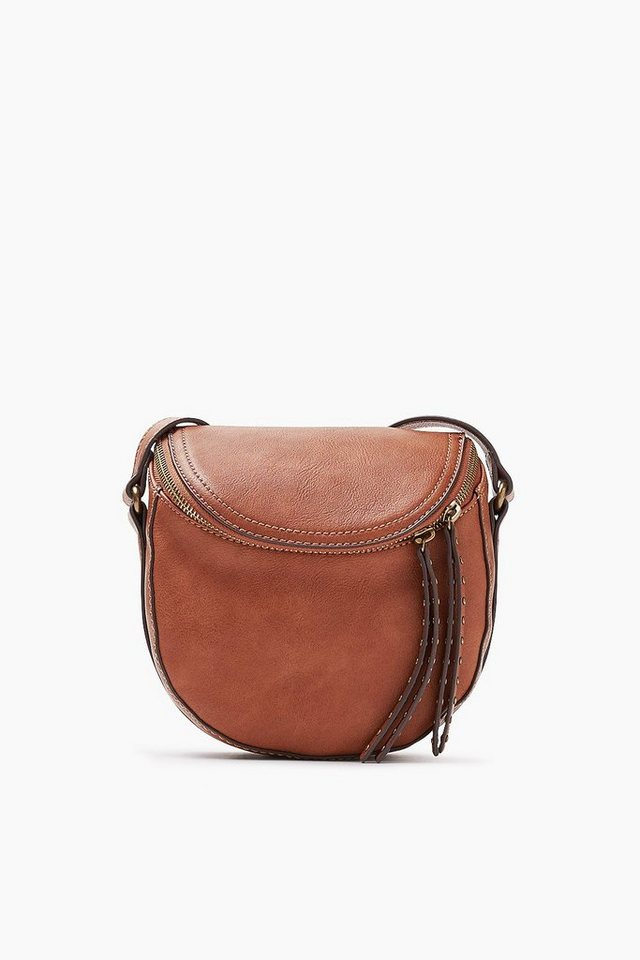 ESPRIT CASUAL Schultertasche mit 2-Way-Zip, Lederoptik in RUST BROWN