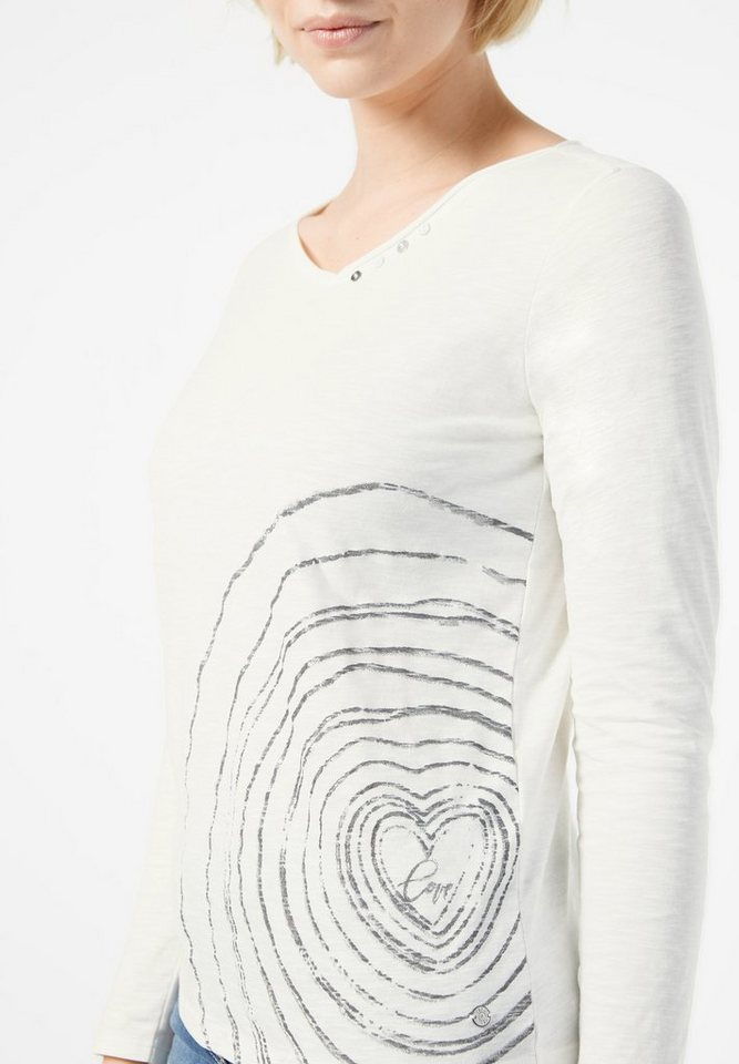 CECIL Shirt mit Herzprint in pure off white
