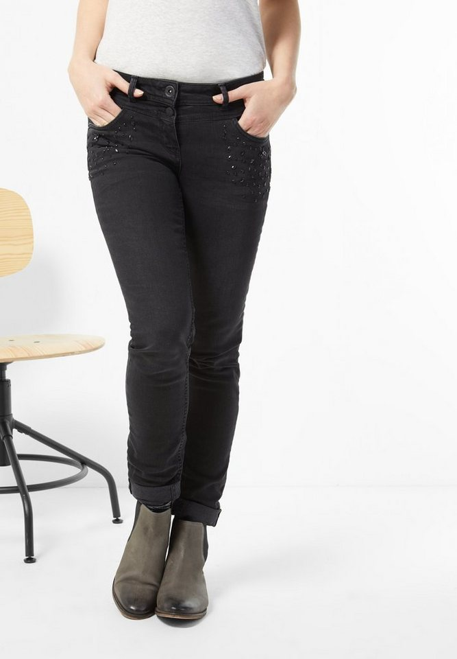 CECIL Denim mit Perlen Scarlett in grey used wash