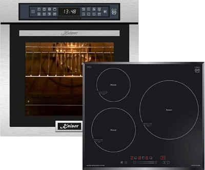 Kaiser Küchengeräte Induktions Herd-Set EH 6306 R+KCT 6736 FI/5, Einbaubackofen,Edelstahl,79L 15 Fkt. Grill Air fryer Full Touch,Funktion Heißluftfritteuse, Autark, Heißluftofen, Herausnehmbare Glasstür, mit Grill, Umluftofen, Katalytisches Reinigungssytem+Induktionsherd / Autark / 3 QuickHeat Zonen alle mit PowerBooster / Sensor-Bedienung mit Funktionsdisplay /