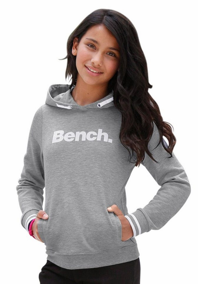 Bench Kapuzensweatshirt mit Frontdruck in grau-meliert
