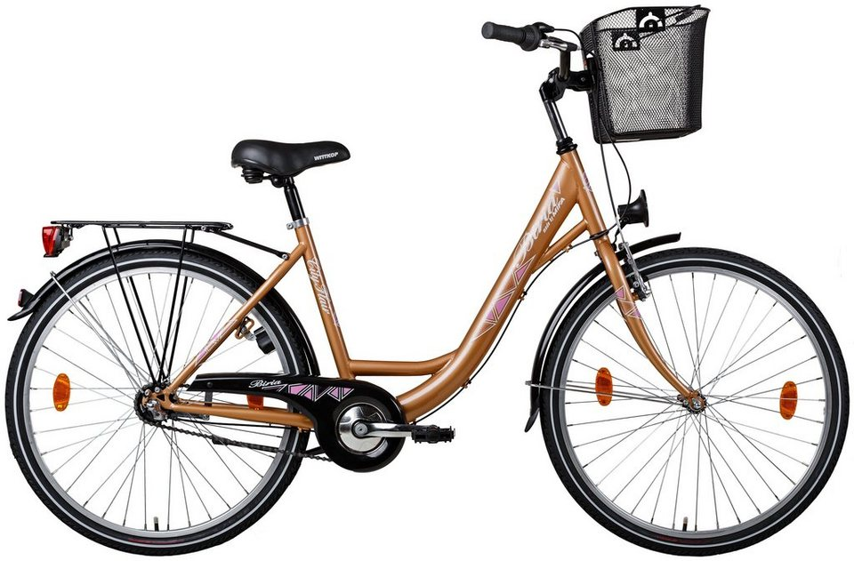 Biria Citybike, Damen, Stahl, 3-Gg. SHIMANO Nexus, Rücktritt, Korb in kupferfarben-beige
