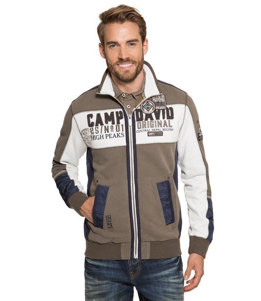 CAMP DAVID Sweatjacke in khaki