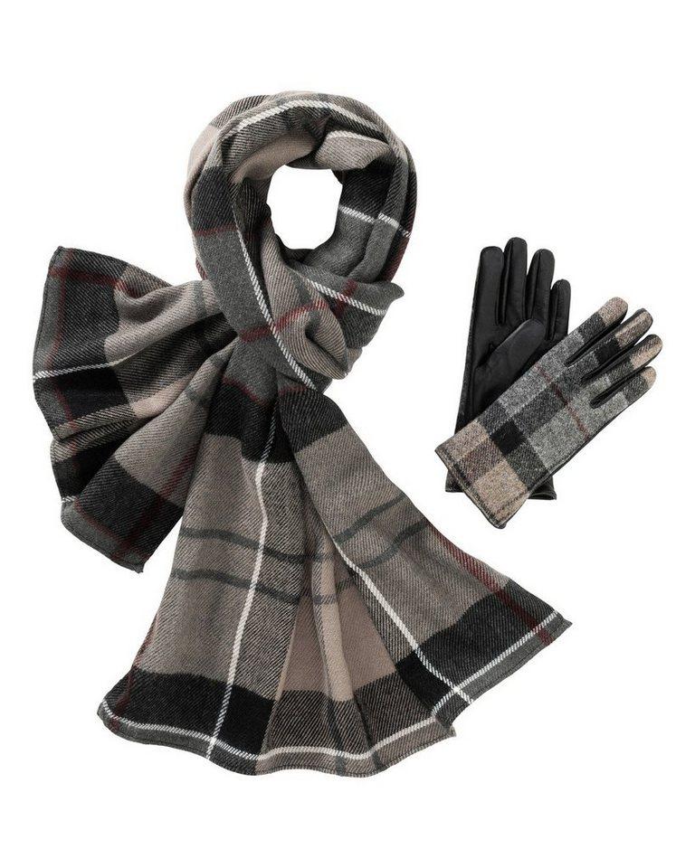 Barbour Schal und Handschuh-Geschenkset in Grau