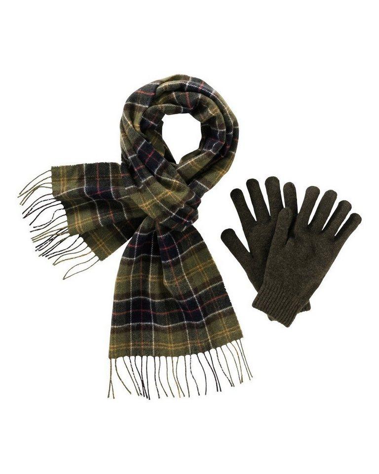 Barbour Geschenkebox Schal und Handschuhe in Grün