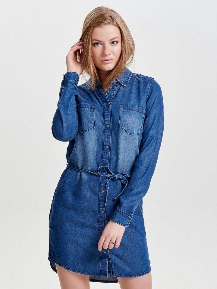 Only Langärmeliges Jeanskleid in Medium Blue Denim