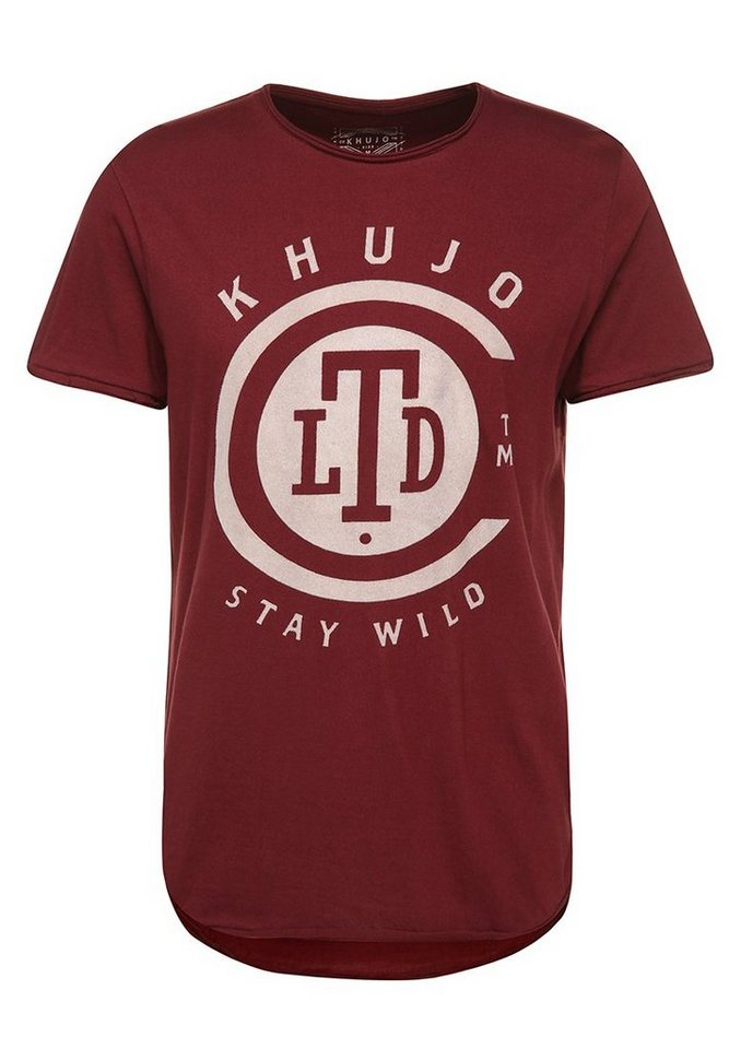 khujo T-Shirt »TASHKENT« in dunkelrot