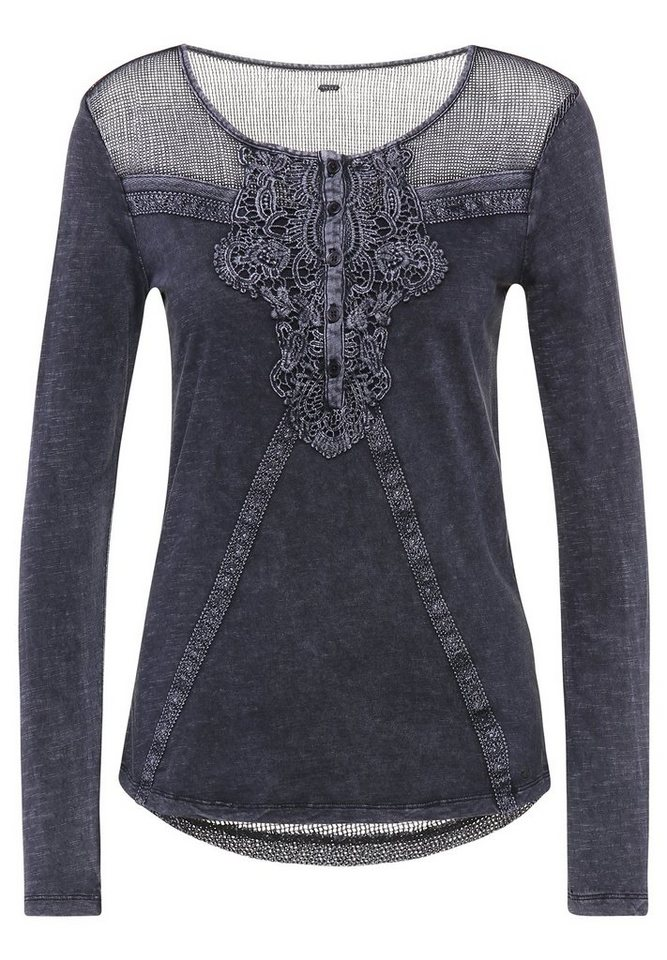 khujo Spitzenshirt »ANNEN« in dunkelblau