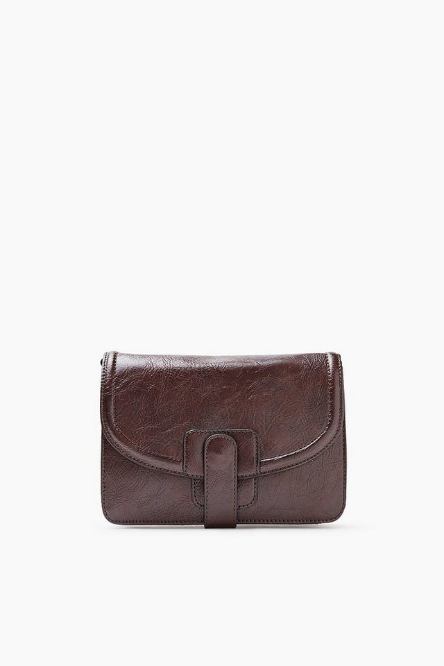 EDC Schultertasche im Leder-Look in DARK BROWN