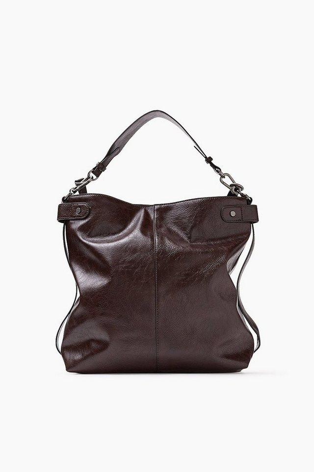 EDC Hobo Bag im Leder-Look in DARK BROWN