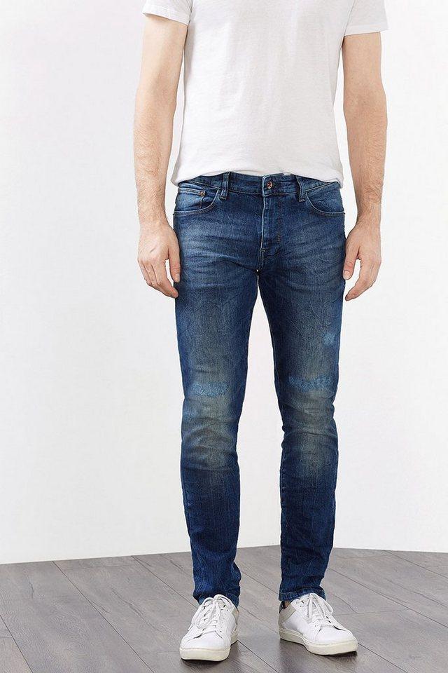 ESPRIT CASUAL Stretch-Jeans mit starken Used-Effekten in BLUE MEDIUM WASHED