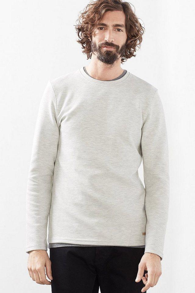 EDC Struktur Sweatshirt, Baumwoll-Mix in OFF WHITE