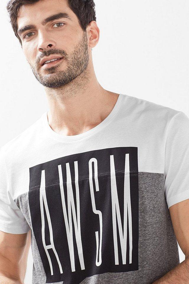 EDC Colourblock Jersey Shirt, 100% BW in MEDIUM GREY