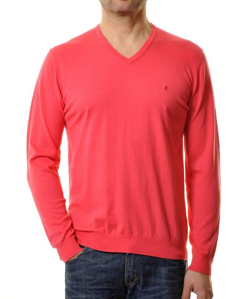 Ragman V-Ausschnitt-Pullover in koralle