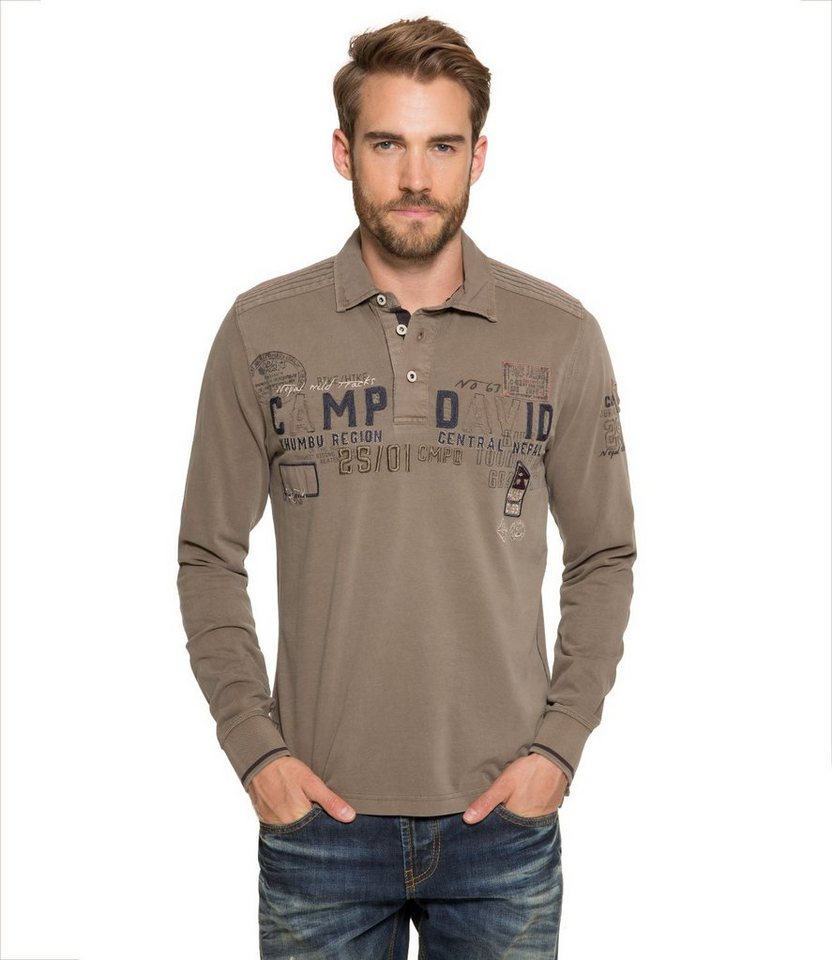 CAMP DAVID Langarm-Poloshirt in khaki