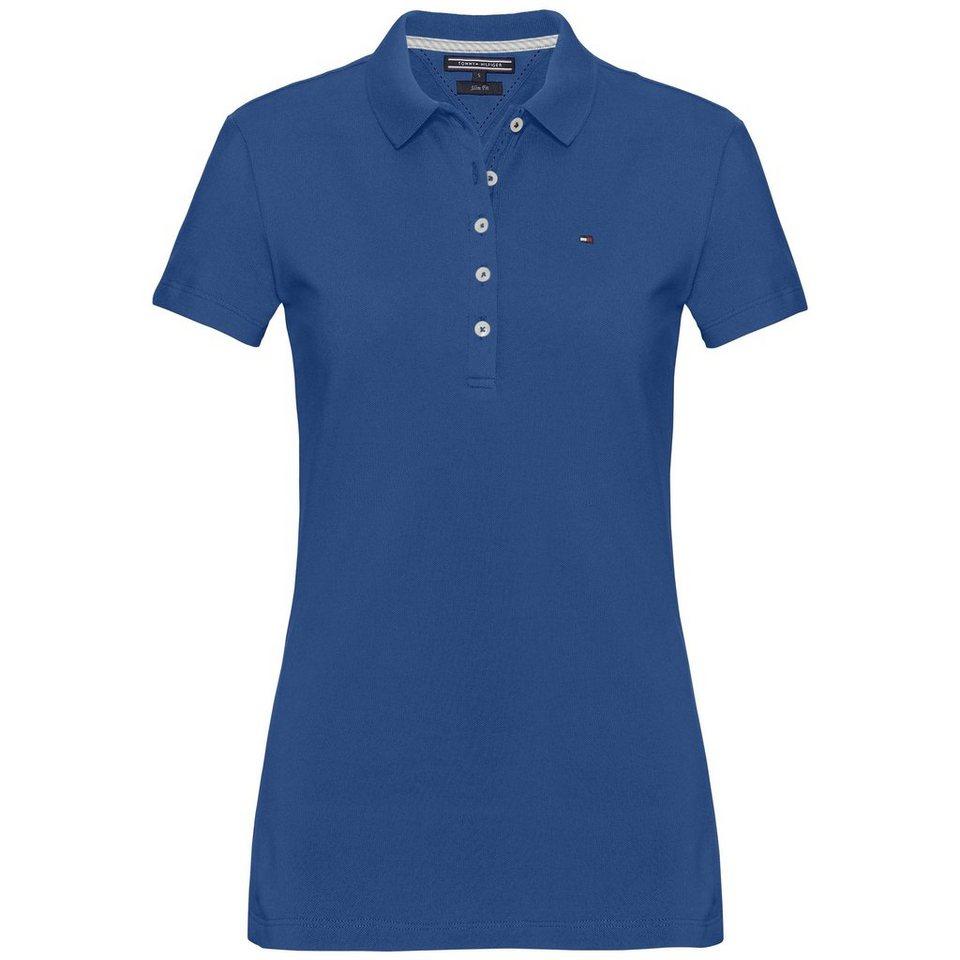 Tommy Hilfiger Poloshirt »NEW CHIARA STR PQ POLO SS« in BRIGHT COBALT
