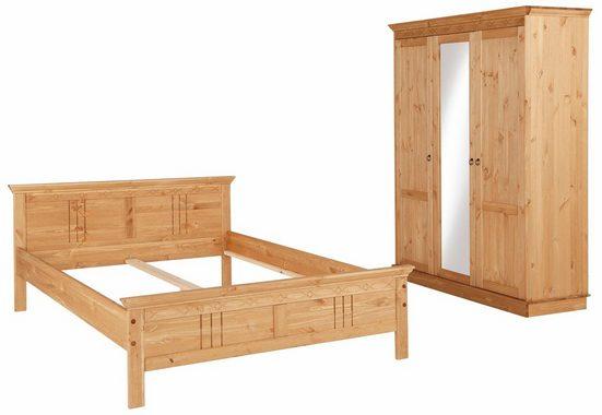 Home affaire Schlafzimmer-Set »Indra«, (Set, 2-St), bestehend aus 140er Bett und 3-türigem Schrank