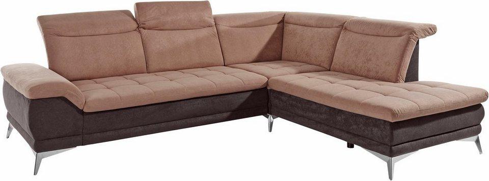Sit & More Polsterecke, mit Sitztiefenverstellung in grau/bordeaux