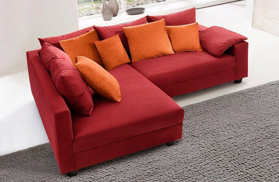 Polsterecke, wahlweise mit Bettfunktion in rot/orange