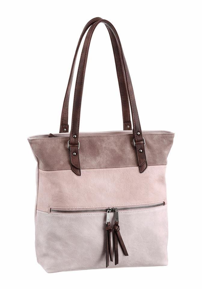 Tom Tailor Schultertasche »AMELIA« in rosé-offwhite-taupe