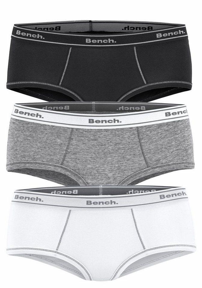 Bench Pantys (3 Stück) in schwarz + grau meliert + weiß
