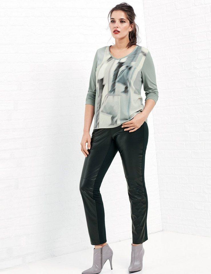 Samoon T-Shirt Langarm Rundhals »Bedrucktes Blusenshirt« in Eis Grün Patch